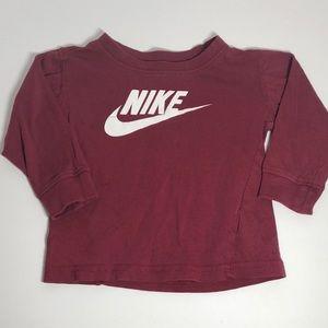 Nike Long Sleeved Burgundy Colored Shirt 12M